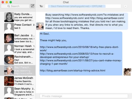 Scuttlebutt chat window