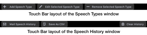 Touch Bar – Speech Type and Speech History