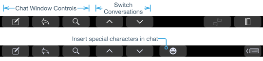 Chat Window touch bar buttons