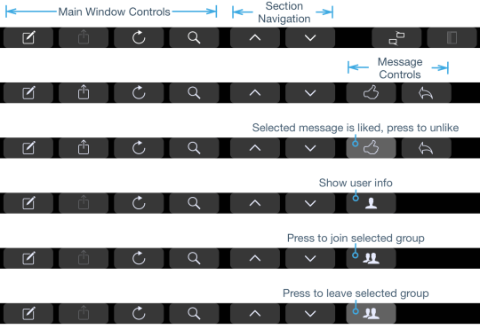 Explore window Touch Bar buttons
