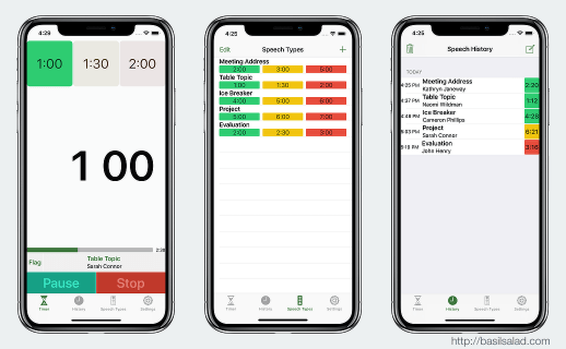Speech Timer on iPhone X — timing, speech types, and speech history