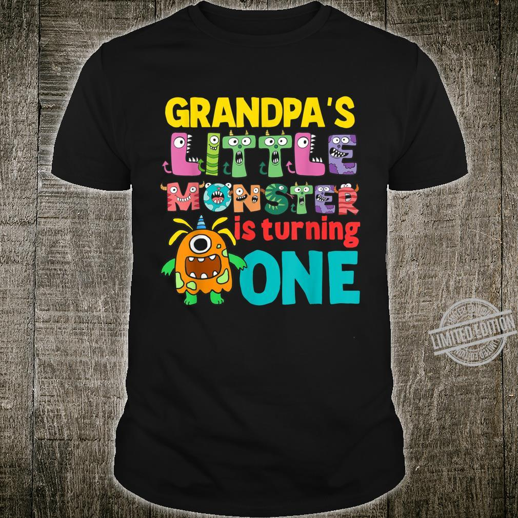 Grandpa Of The Little Monster 1st Birthday Matching Family Shirt