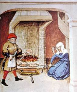 """Illustration from an edition of """"The Decameron"""", Flanders, 1432. Paris, Biblioteque Nationale, Arsenal, manuscript 5070."""