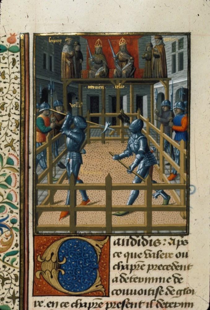 Harley 4375 f. 171v Two knights battling Description:Miniature of two knights battling.