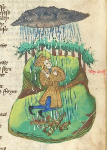 Illuminated manuscript image of man on his knees next to a campfire. Above the man is a dark cloud that is raining heavily down on him and the fire.
