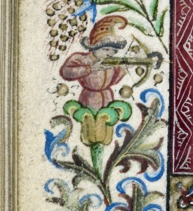 Detail of an archer with a crossbow, emerging from a flower in the right margin of the folio.