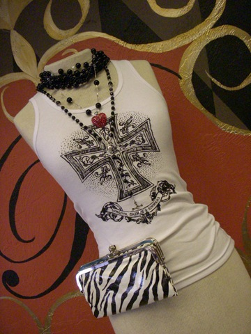 White tank with maltese cross design and VSS logo!