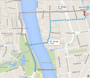 How to go from Kaboom hotel to the Stayokay Maastricht by foot