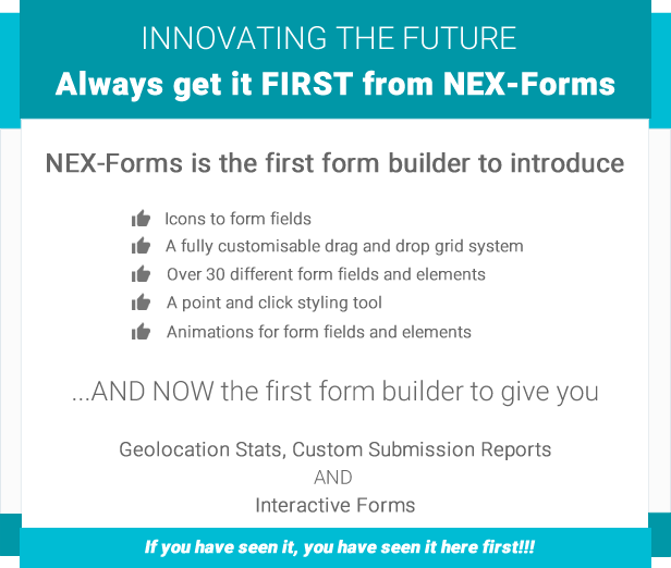NEX-Forms - The Ultimate WordPress Form Builder - Innovation