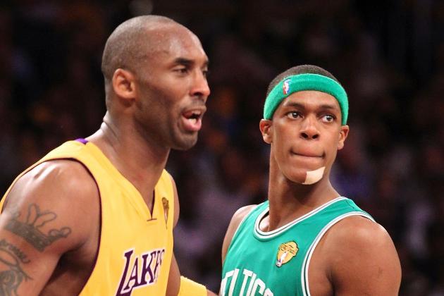 Kobe Bryant and Rajon Rondo