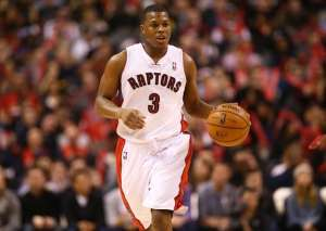 Feb 3, 2013; Toronto, ON, Canada; Toronto Raptors guard Kyle Lowry (3) brings the ball up the court against the Miami Heat at the Air Canada Centre. The Heat beat the Raptors 100-85. Mandatory Credit: Tom Szczerbowski-USA TODAY Sports