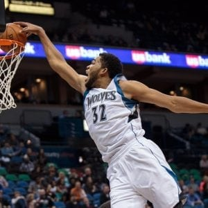 Oct 23, 2015; Minneapolis, MN, USA; Minnesota Timberwolves center Karl-Anthony Towns (32) dunks in the third quarter against the Milwaukee Bucks at Target Center. The Minnesota Timberwolves beat the Milwaukee Bucks 112-108. Mandatory Credit: Brad Rempel-USA TODAY Sports