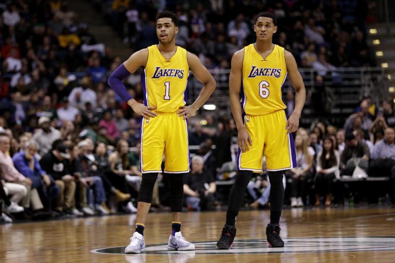 Jordan Clarkson and D'Angelo Russell