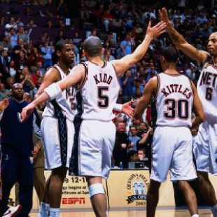4ffffb80 EAST RUTHERFORD, NJ – JUNE 8: Kenyon Martin #6 and Jason Kidd #5 of the New  Jersey Nets celebrate during Game three of the NBA Finals against the San  ...