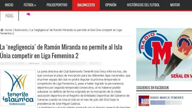 'Radio Marca Tenerife' también culpa a Ramón Miranda