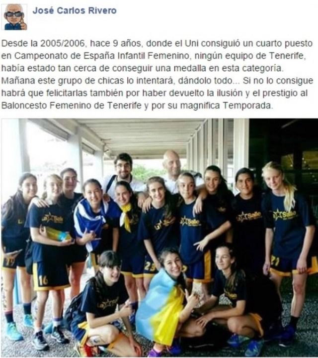 José Carlos Rivero - Facebook - Comentario UNI - La Salle - Infantil
