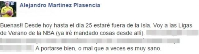 Alejandro Martínez - Facebook - Se marcha USA