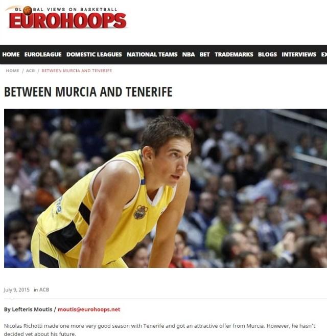 Eurohoops - Richotti entre Murcia y Tenerife