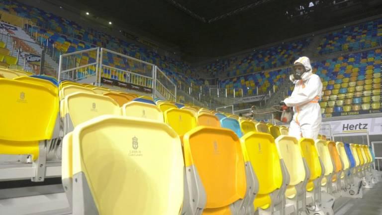 El Gran Canaria Arena, desinfectado por completo