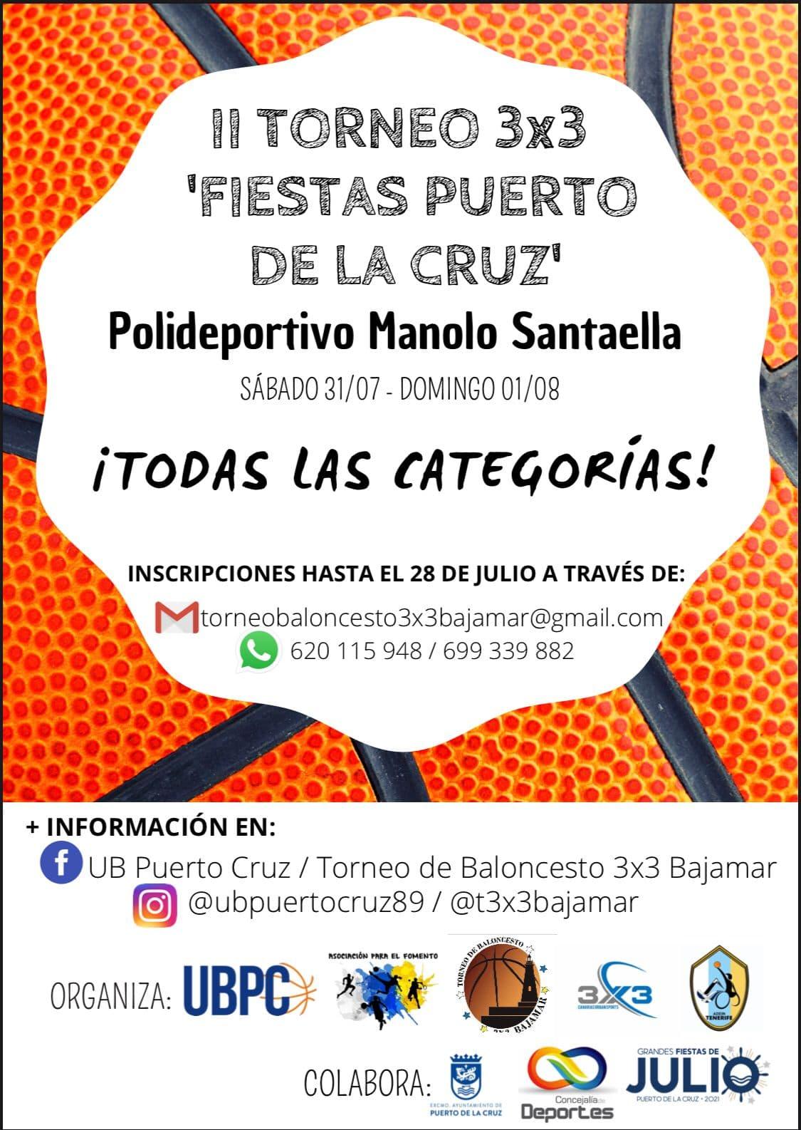 El sábado 31 de julio y el domingo 1 de agosto, II Torneo 3×3 'Fiestas del Puerto de La Cruz'