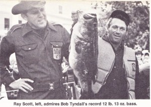 Bassmaster Tournament Records and Winners. Bob Tyndall's B.A.S.S. record bass taken from Rodman Pool in February of 1973. Photo from the May/June 1973 issue of Bass Master Magazine.