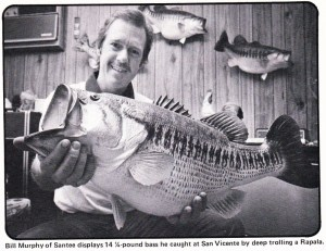 Lunker Bill Murphy holding a mount of a 14-04 caught on one of the early swimbaits of the day.