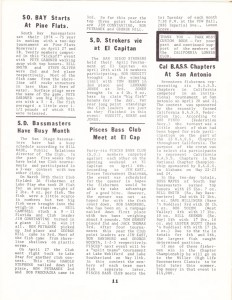 May 1974 Bass Club News from the California Lunker Club newsletter - page 2.