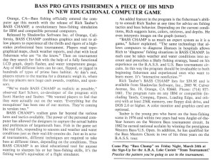 The formal write-up on Rich Tauber's Bass Champ computer game.