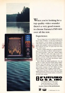 1985 Furuno ad for their CRT graph. Notice the resolution compared to the LCR/G of HUmminbird and Lowrance.