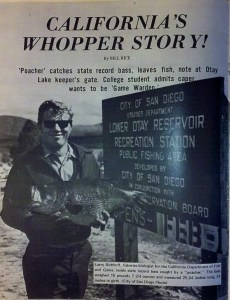 Larry Bottroff, California Fish and Game Biologist, holds what would have been the California State Record largemouth bass at the time. The fish was poached from Lower Otay Reservoir in 1970. Photo 1970 Spring issue of Bass Master Magazine.