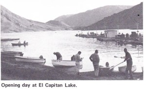 Opening day at El Capitan Reservoir 1969. Note the absence of bass boats on this 10-mph only lake. Photo Lee Schlimmer 1969 for Bass Master Magazine.