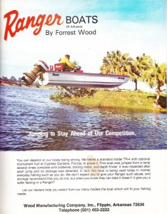 Old Ranger bass Boat ad from 1973 touting their TR-4 bass boat.