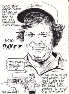 Woo Daves wins the 1975 Virginia Invitational at Kerr. Rendering Sept/Oct 1975 Issue of Bassmaster Magazine