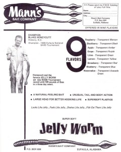 1969 Mann's Jelly Worm ad featuring Blake Honeycutt, holder of the bassmaster all-time weight record for a tournament.