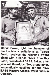 Texan Marvin Baker takes all the marbles on Toledo Bend Reservoir. Jul/Aug 1975 issue of Bass Master Magazine.