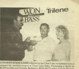 WON Bass Editor George Kramer presents a conservation award. Photo courtesy of George Kramer.