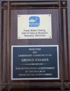 George Kramer's Fresh Water Fishing Hall of Fame plaque. Photo courtesy of George Kramer.