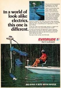 1977 OMC Evinrude trolling motor ad.