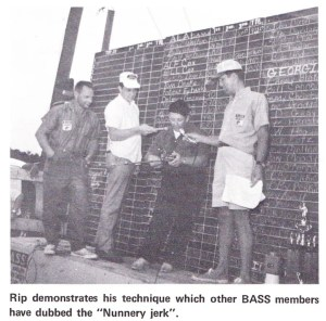 Rip Nunnery giving a hook-setting demonstration after weighing his fish at Lake Eufaula in 1969. Photo Fall 1969 issue of Bass Master Magazine.