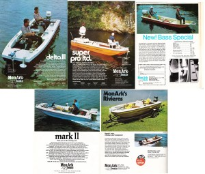 MonArk again hit the campaign hard, this year showing six different models in five ads including an aluminum model. From 14 feet in length to 17-1/2 feet, MonArk had a number of boats to fit anyone's needs. The Delta III was a 16 1/2-foot, stick steer model rated for a 65-hp motor. The 17 ½-foor Super Pro LTD came in both an I/O and outboard model and was one of the biggest bass boats of its day. The Bass Special was the all-aluminum boat, offered in both 14- and 16-foot versions with either tiller or stick steering as an option. They also offered the Mark II and Riviera Series lines with the Riviera offered in both console and stick steer versions.