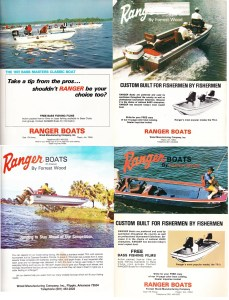By 1973 Ranger had become synonymous with bass boats and their ad campaign showed it. They started off advertising their staple, the TR-3 in the normal advertising manner. A picture with anglers using the boats the way they were normally intended to be used. Then, in order to show how tough their new TR-4 was, they decided to jump the thing, Burt Reynolds Gator style, at Cypress Gardens in Florida. The resulting tests provided the shot for their TR-4 ad that very year. Makes me wonder how many bass fishermen have tried to do the same? I know I've jumped a few sandbars in my time.