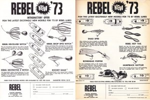 Rebel ads have me a bit confused. Is Rebel trying to sell their lures or their boats? In my opinion, they should have had two ads, one displaying their baits and another displaying their boats – but what do I know. I guess it costs less to kill two birds with one stone. Anyway, Rebel was offering five rigs by 1973 – what appears to be a 17-foot jet, three different outboard models and an I/O. It's too bad they didn't elaborate on the boats more in this ad because it would be nice to see exactly what their specs were along with what they offered. To be honest with you, I'm more interested in the $3.00 offer on the baits.