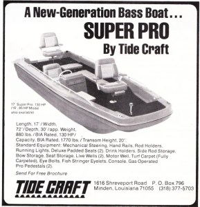 In 1972 Tide Craft was all about their 16-foot Mr Pro bass boat. In 1973, though, they debuted their new 17-foot Super Pro, rated for a 130-hp motor. At 880 pounds, the boat had a 1770-pound capacity and featured mechanical steering, rod holders, running lights, padded seats, rod storage, 2 livewells, bow storage, and fish stringer eyelets? Yes folks, people still kept their fish but why wouldn't they use the livewell for that? Don't know. As with their ad from 1972, this one isn't much prettier and doesn't really give you a good idea of just how big it is. At least they put the hull specs in this year.