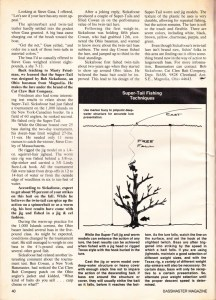February 1977 Bass Master Magazine article on the Cat Claw Bait's Super Tail Page 3.