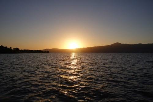 琵琶湖、下物エリアの夕陽