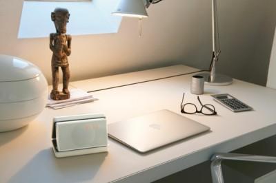 Geneva Sound System - Model XS - White - Macbook Air Closed - Peter Strobl