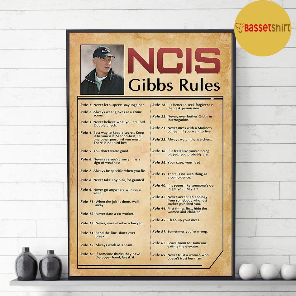 ncis gibbs rules print canvas