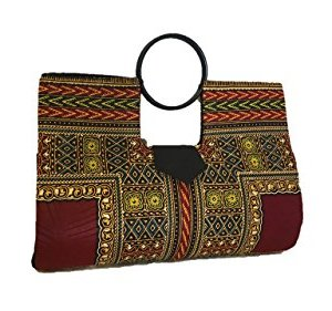 Large Wine & Ivory Hard Body African Dashiki Handbag