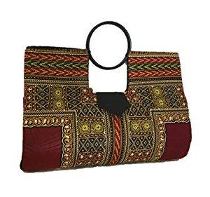 Large Wine & Ivory Hard Body African Dashiki Handbag