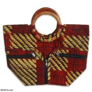 NOVICA Multicolored Cotton Batik Handbag, 'African Forest'